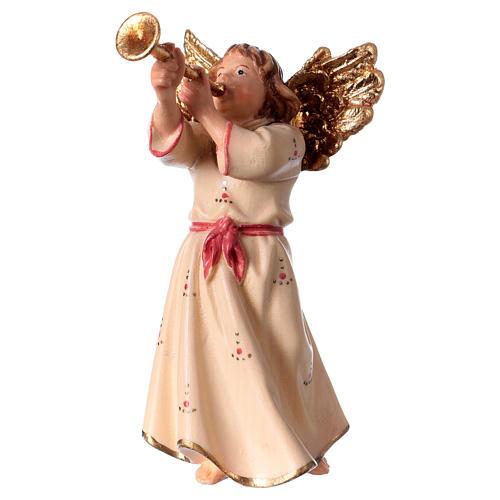 Ángel con trompeta belén Original madera pintada Val Gardena 12 cm de altura media 1