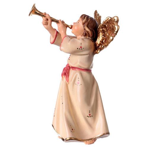 Ángel con trompeta belén Original madera pintada Val Gardena 12 cm de altura media 2