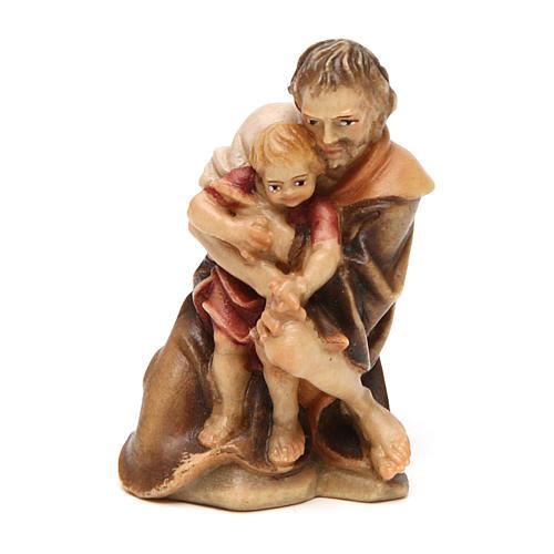 Pastore inginocchiato con bambino presepe Original legno Valgardena 10 cm 1