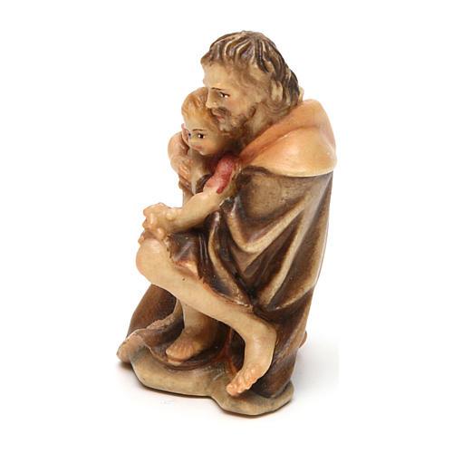 Pastore inginocchiato con bambino presepe Original legno Valgardena 10 cm 2