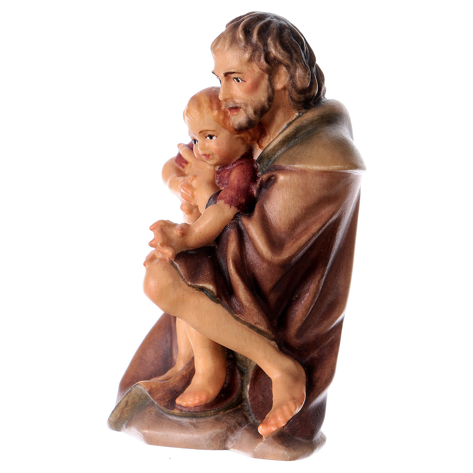 Kneeling farmer with child Original Nativity Scene in painted wood from Valgardena 12 cm 4