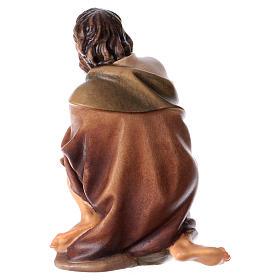 Pastor de rodillas con niño belén Original madera pintada Val Gardena 12 cm de altura media s4