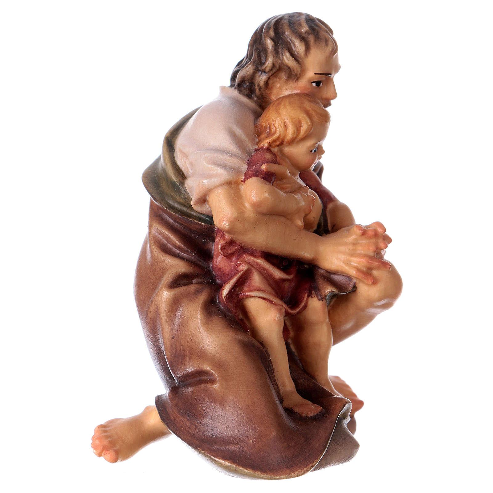 Berger à genoux avec enfant crèche Original bois peint Val Gardena 12 cm 4