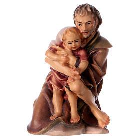 Berger à genoux avec enfant crèche Original bois peint Val Gardena 12 cm s1