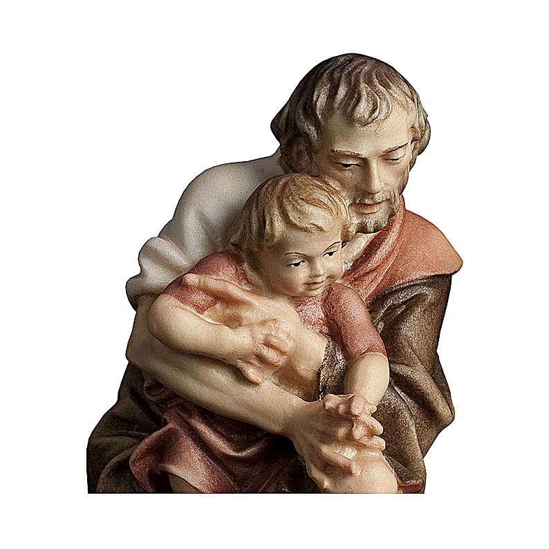 Pastore inginocchiato con bambino presepe Original legno Valgardena 12 cm 4