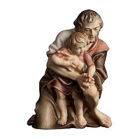 Pastore inginocchiato con bambino presepe Original legno Valgardena 12 cm s1