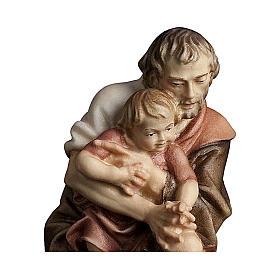 Pastore inginocchiato con bambino presepe Original legno Valgardena 12 cm s2