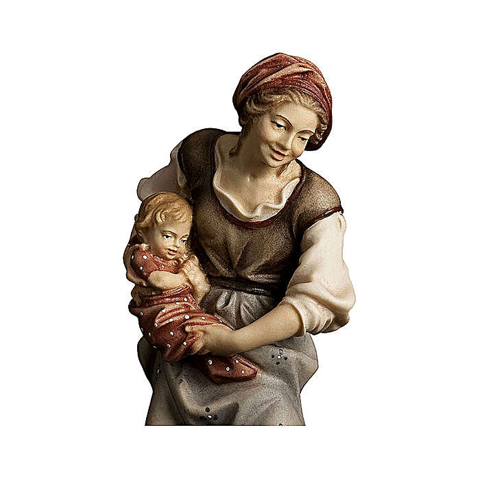 Contadina con neonato presepe Original legno dipinto Valgardena 10 cm 4