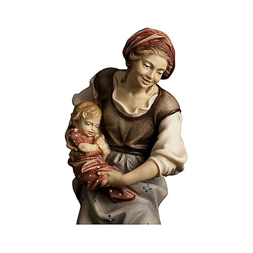 Contadina con neonato presepe Original legno dipinto Valgardena 10 cm 2