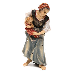 Belén Val Gardena: Campesina con niño recién nacido belén Original madera pintada Val Gardena 12 cm de altura media