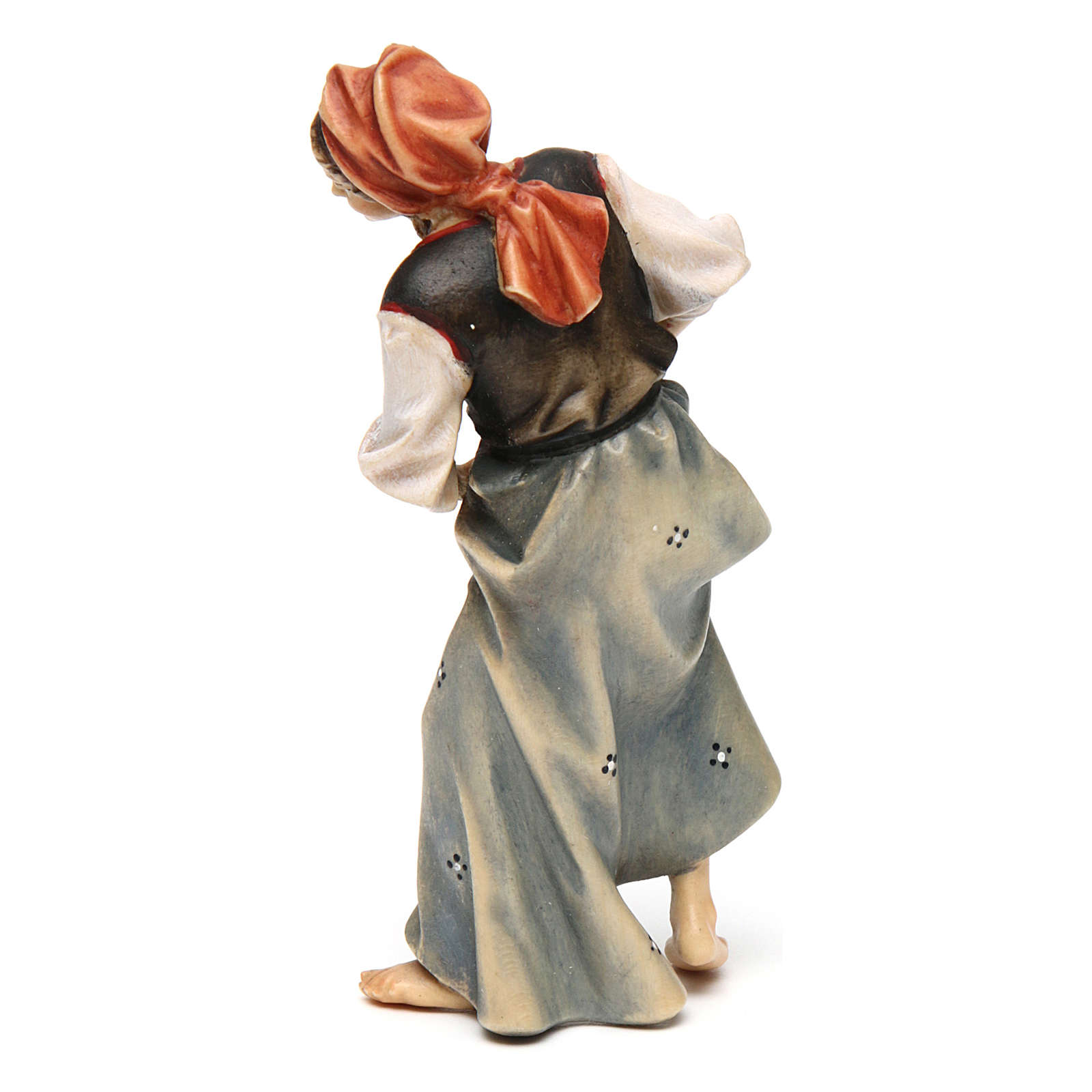 Contadina con neonato presepe Original legno dipinto Valgardena 12 cm 4