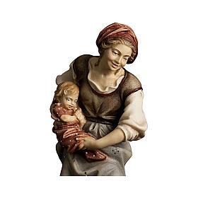 Contadina con neonato presepe Original legno dipinto Valgardena 12 cm s2
