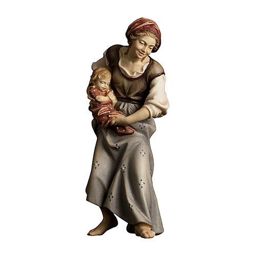 Contadina con neonato presepe Original legno dipinto Valgardena 12 cm 1