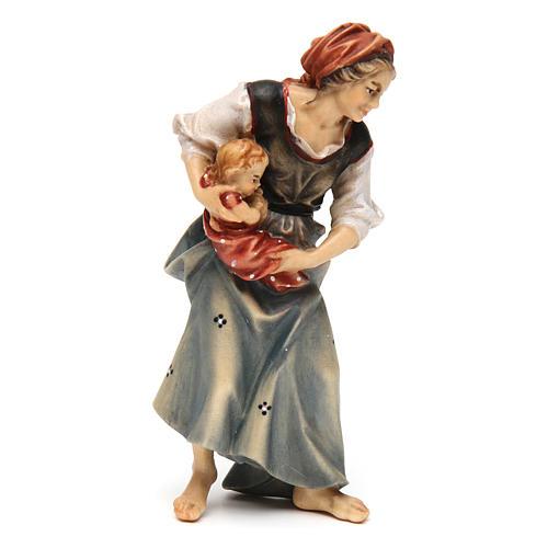 Contadina con neonato presepe Original legno dipinto Valgardena 12 cm 2