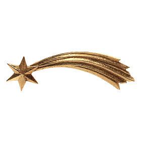Estrella cometa Original madera pintada Val Gardena para belén de altura media 12 cm s1