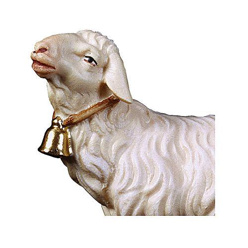 Pecora con campanella presepe Original legno dipinto Valgardena 12 cm 2