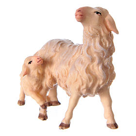 Pecora con agnello presepe Original legno dipinto Valgardena 10 cm s2
