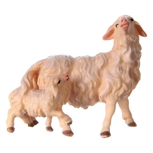Pecora con agnello presepe Original legno dipinto Valgardena 10 cm 1