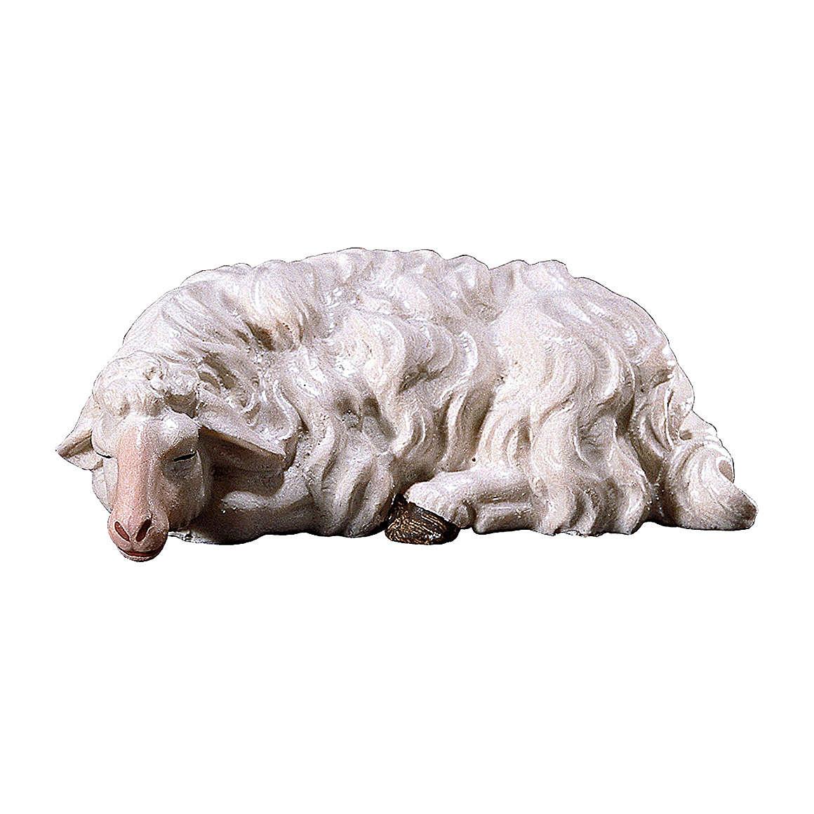 Pecora che dorme presepe Original legno dipinto Valgardena 10 cm 4