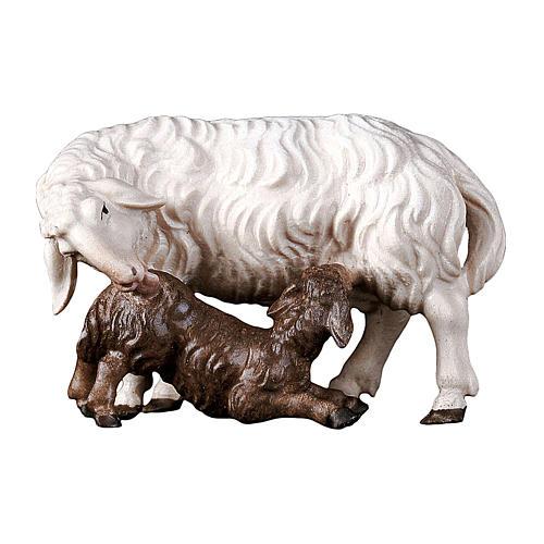 Pecora con agnello allattante presepe Original legno Valgardena 10 cm 1