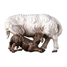 Pecora con agnello allattante presepe Original legno Valgardena 12 cm s1
