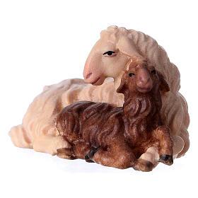 Pecora con agnello sdraiato presepe Original legno Valgardena 12 cm s2