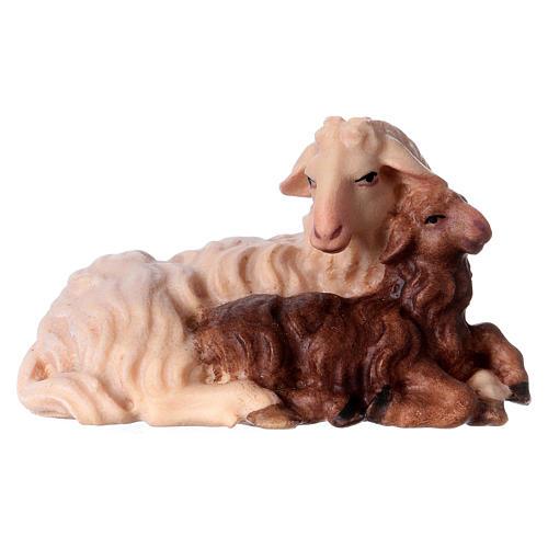 Pecora con agnello sdraiato presepe Original legno Valgardena 12 cm 1