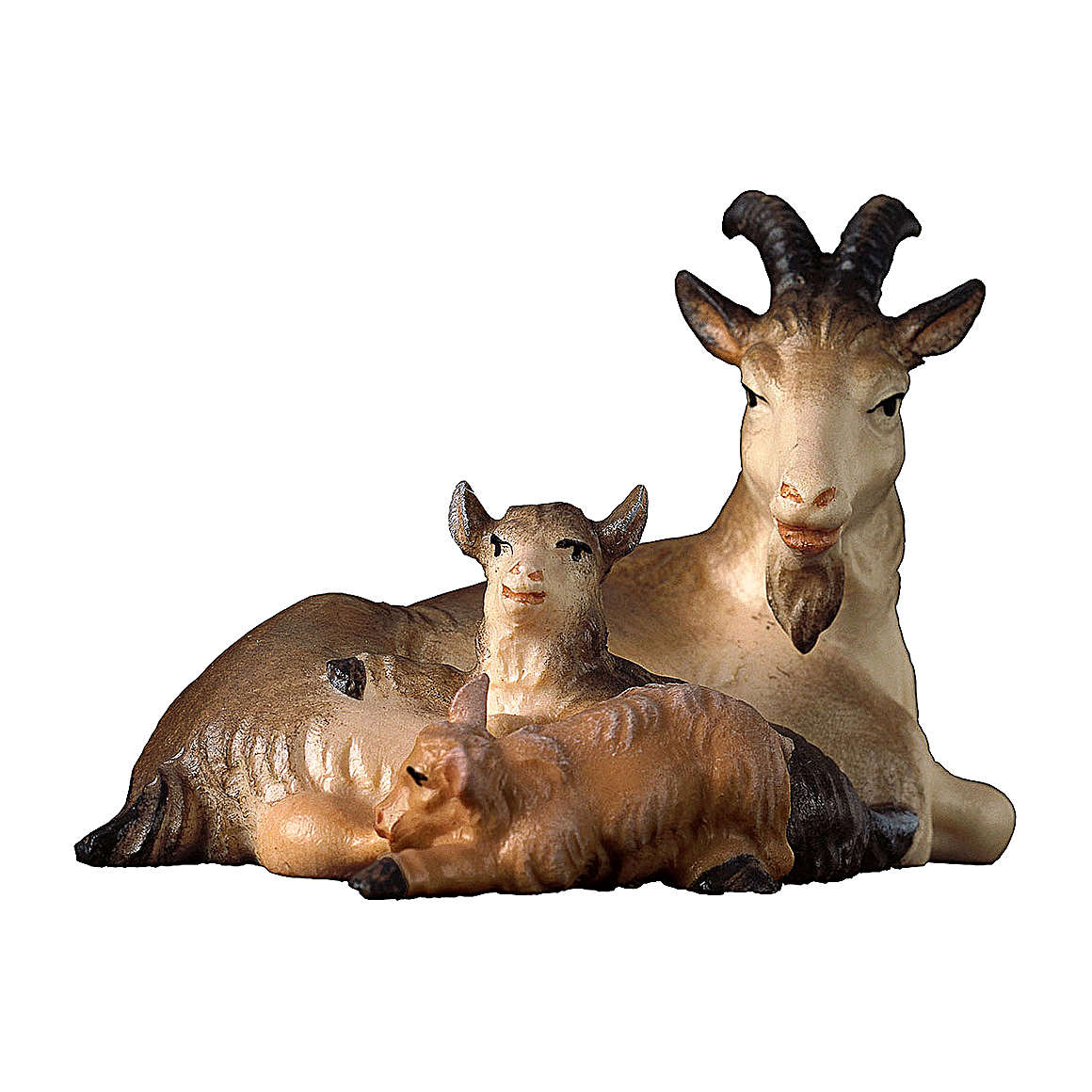 Capra sdraiata con due caprette presepe Original legno dipinto Valgardena 10 cm 4