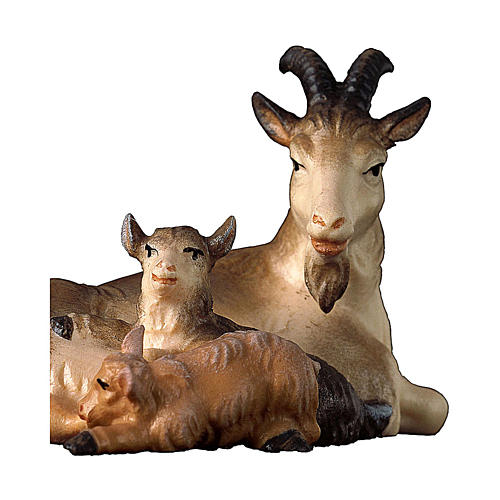 Capra sdraiata con due caprette presepe Original legno dipinto Valgardena 10 cm 2