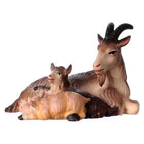 Belén Val Gardena: Cabra tumbada con dos cabritas belén Original madera pintada Val Gardena 12 cm de altura media