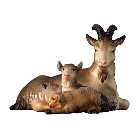 Capra sdraiata con due caprette presepe Original legno dipinto Valgardena 12 cm s1