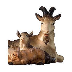 Capra sdraiata con due caprette presepe Original legno dipinto Valgardena 12 cm s2