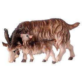 Belén Val Gardena: Cabra con cabrita belén Original madera pintada Val Gardena 12 cm de altura media