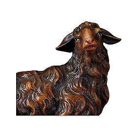 Pecora di colore scuro che guarda a destra presepe Original legno Valgardena 12 cm s2
