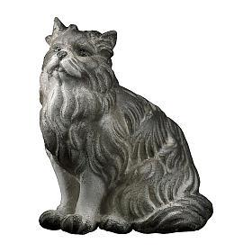 Gatto seduto presepe Original legno dipinto Valgardena 10 cm s1