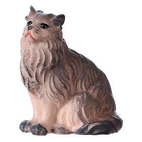 Belén Val Gardena: Gato sentado belén Original madera pintada Val Gardena 12 cm de altura media