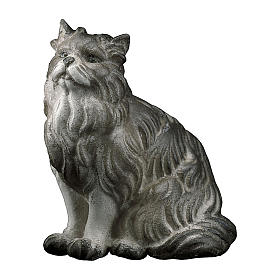 Gatto seduto presepe Original legno dipinto Valgardena 12 cm s1