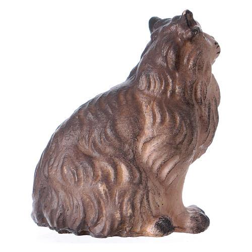 Gatto seduto presepe Original legno dipinto Valgardena 12 cm 3