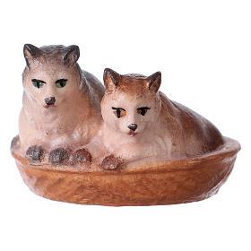 Belén Val Gardena: Gatos en la cesta belén Original madera pintada Val Gardena 10 cm de altura media