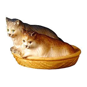 Gatti nel cesto presepe Original legno dipinto Valgardena 12 cm s1