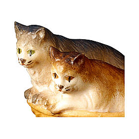 Gatti nel cesto presepe Original legno dipinto Valgardena 12 cm s2