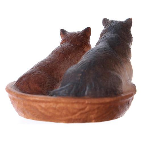 Gatti nel cesto presepe Original legno dipinto Valgardena 12 cm 3