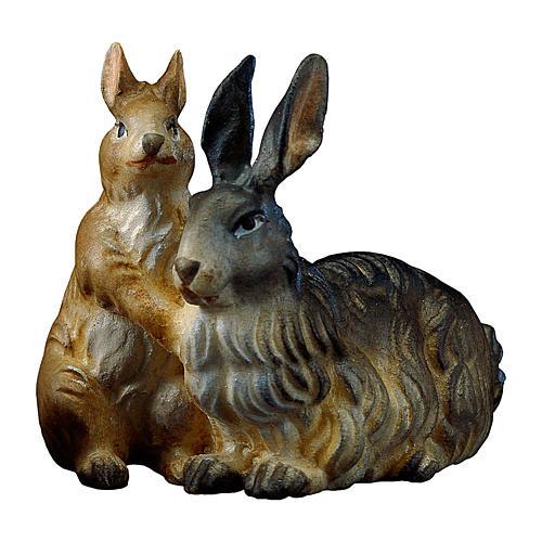 Gruppo di conigli presepe Original legno dipinto Valgardena 12 cm 1