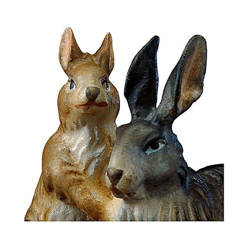 Gruppo di conigli presepe Original legno dipinto Valgardena 12 cm 2