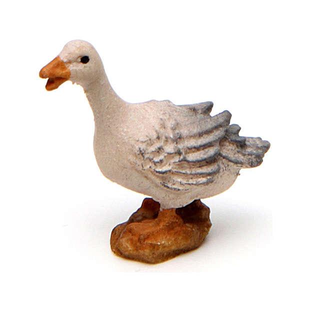 Goose squawking, 10 cm Original Nativity model, in painted Valgardena wood 4