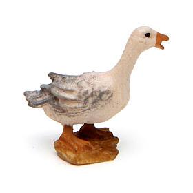 Goose squawking, 10 cm Original Nativity model, in painted Valgardena wood s2