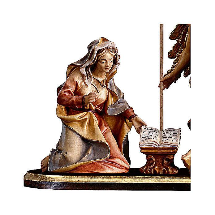 Gruppo Annunciazione su piedistallo 5 pezzi presepe Original legno Valgardena 10 cm 4
