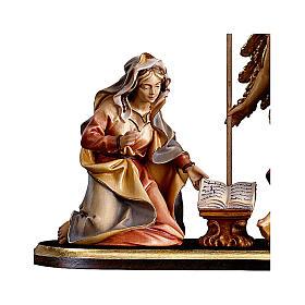 Gruppo Annunciazione su piedistallo 5 pezzi presepe Original legno Valgardena 10 cm s2