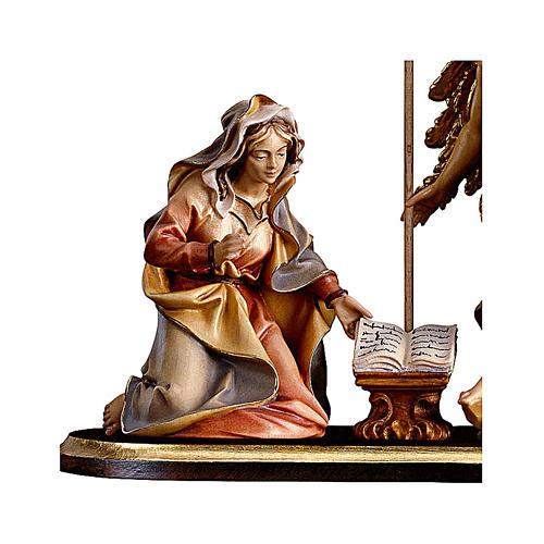 Gruppo Annunciazione su piedistallo 5 pezzi presepe Original legno Valgardena 10 cm 2