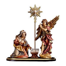 Gruppo Annunciazione su piedistallo 5 pezzi presepe Original legno Valgardena 12 cm s1